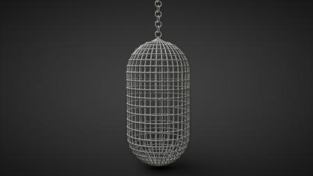 confined: vertical man-riding cage for hanging prisoners capsule shape isolated on black background Stock Photo
