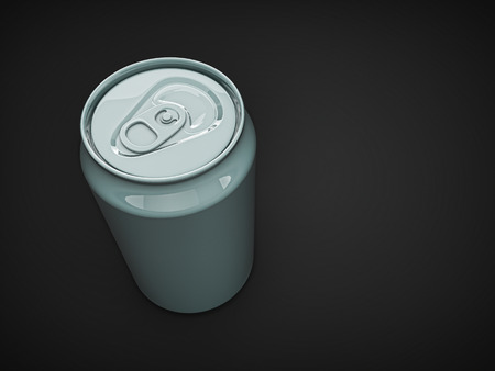 non alcoholic beer: beer can. grey alluminium empty blank can on dark isolated background Stock Photo