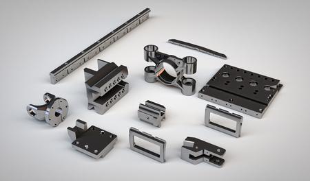componentes: cromadas detalles de engranajes de metal de diferentes mecanismos una vista isométrica aisladas sobre fondo blanco. Ilustración de piezas de acero piezas de maquinaria industrial