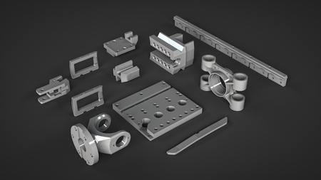 spares: alluminium spares reserve mechanism parts isolated on dark background