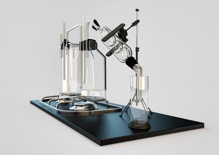 destilacion: Matute todavía. dispositivo para la cocción de alcohol. alcohol ilegal de frascos transparentes y retortas de destilación de líquidos. ilustración de las reacciones químicas, evaporación, sublimación, consiguiendo el alcohol fuerte. Foto de archivo