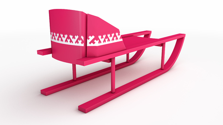 skids: pink plastic sled with khanty siberian pattern decoration over white isolated background