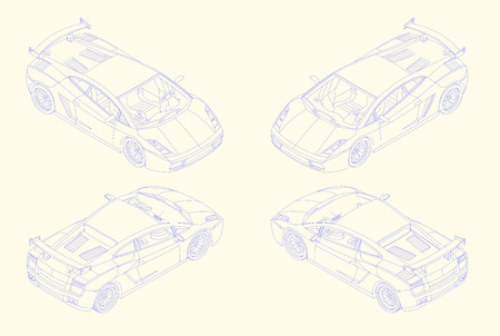 coupe: contour sport car isometric view. luxury coupe automobile outline vector sketch drawing design element. high speed linear auto set illustration. Illustration