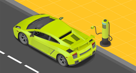 Electric sport coupe car charging station. power supply for Charging of an electric car. Recharging an electric car isometric view.