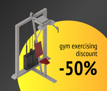 simulator: Gym exercise machine training device. Weight lifting sport apparatus for fitness and workout