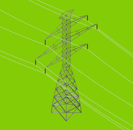 powerline: isometric seamless high voltage line and power pylons icon illustration
