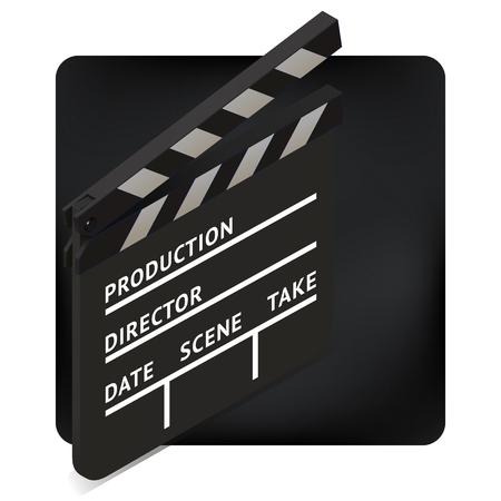 film slate: movie clapper board isometric perspective vector illustration. blank film slate. cinema production icon sign. Illustration