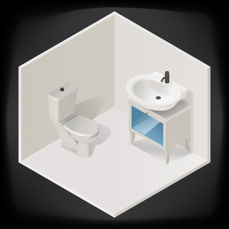 the hygiene: toilet room interior with washbasin isometric view isolated on dark background vector illustration icon.