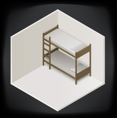 bunk: bunk bed isometric perspective view icon. realistic sign vector illustration