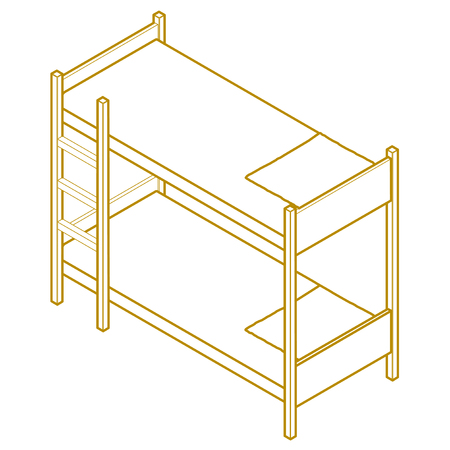bunk bed: linear contour sign vector illustration. bunk bed isometric perspective view Illustration