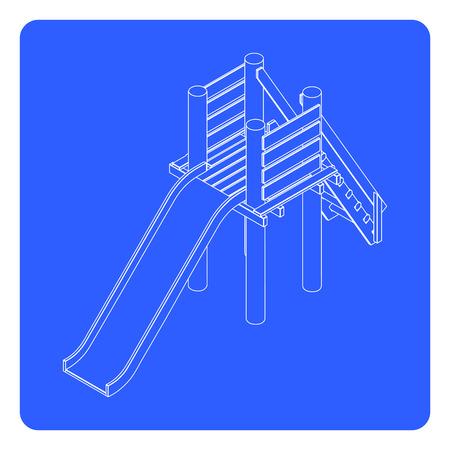 kinder garden: linear playfround slide illustration. kids slide outline icon. playground slide theme elements Illustration