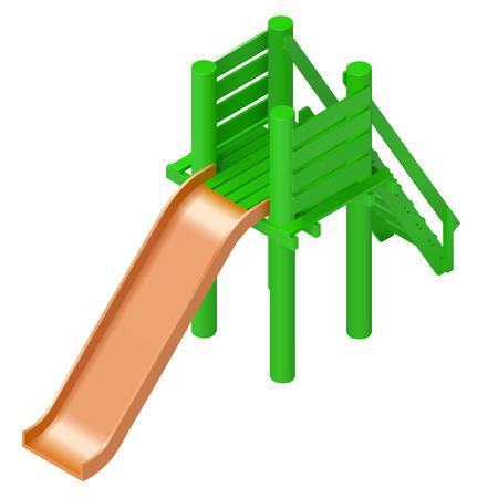 jardin de infantes: los ni�os de diapositivas ilustraci�n vectorial isom�trica parque infantil. parque infantil elementos del tema de diapositivas. tobog�n para los ni�os colorido aislado en el fondo blanco