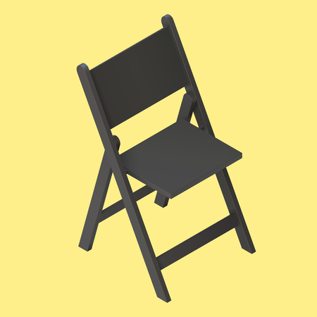 foldable: fold chair isolated. black foldable isometric stool realistic vector illustration icon. Camping chair. Icon for web and mobile application.