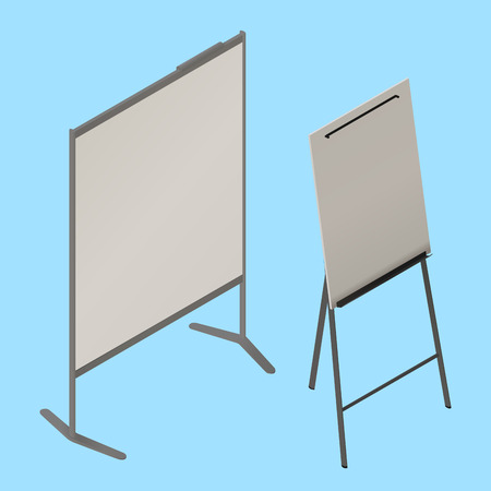 blank canvas: flip chart whiteboard isometric vector. easel isometric sign icon. Empty whiteboard magnetic board isolated. Office Whiteboard on Tripod blank canvas. Illustration