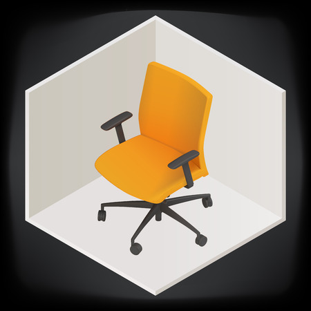 single seat: vector office chair isometric perspective view. computer armchair illustration icon. seat object sign.