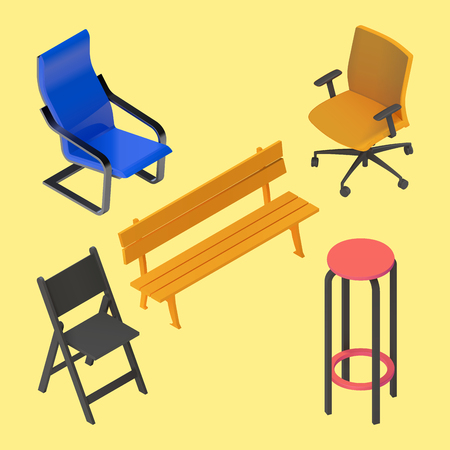 stool: Chair, armchair, stool, bench, furniture vector isometric set. Interior collection element. Office home bar restaurant furniture setchair seat armchair stool lounge element flat 3d isometry