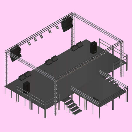 truss: Isometric vector event stage with truss, music equipment, speakers. Musical festival stage podium construction isometric illustration. Illustration