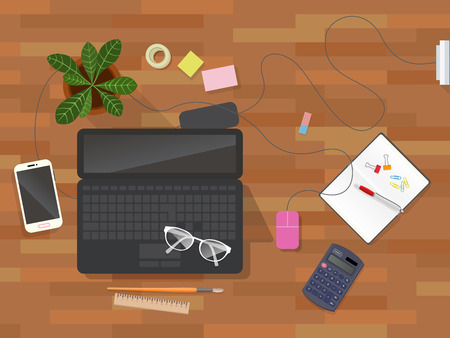 mess: Workplace desk vector top view. Mess workspace accessories on wooden surface background. workspace with tools and devices  Top view of desk background with laptop, digital devices, office objects,