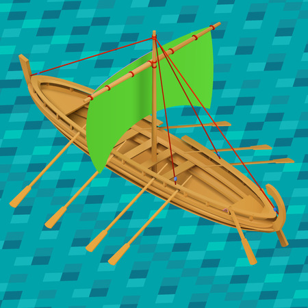 Sailing boat isometric vector illustration. Oar boat  icon. Oared ship isometric. Wooden sailboat marine water transport. Detailed barque realistic premium. Illustration