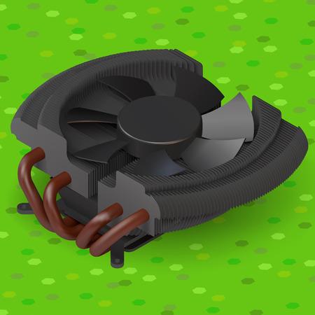 component parts: fan cooler compurer component isometric illustration. plastic cpu heatsink ventilator Illustration