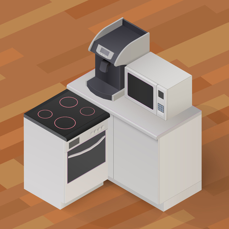 microwave stove: Isometric Stove cooker oven, microwave coffee-maker, kitchenware on wooden floor background illustration.