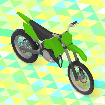 trail bike: motorcycle isometric. cross motorbike illustration isometric view on isolated geometric background. Illustration