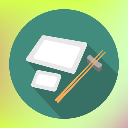 chopstick: Plate and chopsticks. Traditional japaneese Plate and chopsticks. Traditional Japan, Illustration of Sushi Geta Tray. Plate with Chopstick for Serving Japanese Food. Illustration