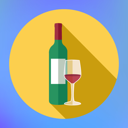 cabernet: Bottle wine and glass flat icon. Flat modern design with shadow icons beverage. bottle of wine icon.