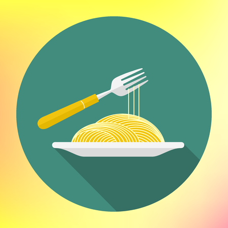 twirling: spaghetti on fork flat icon. Italian pasta macaroni. Icon of bowl with noodle and fork. noodle on the dish and twirling on a fork