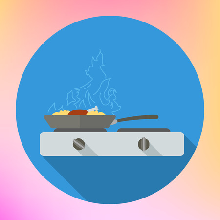 barbecue stove: Chicken leg frying in pan on stove flat icon. Roasted food in wok pan on kitchen stove.