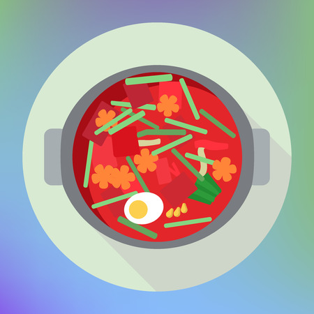 russian cuisine: vegetable beet soup borsch flat icon. traditional russian cuisine. red soup in pot flat with vegetables and egg top view sign. flat icon with long shadow.