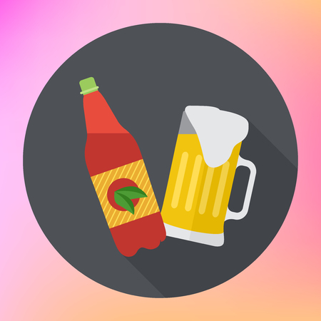froth: Bottle and mug of beer flat icon. Beer bottle and glass with beer foam. Full mug of beer flat pictogram. Cup of ale with froth symbol. flat icon with long shadow. Illustration