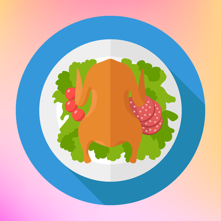 whole chicken: Chicken roasted with salad leafs, tomatoes and salami. Whole fried chicken flat icon. Chicken flat icon with long shadow.