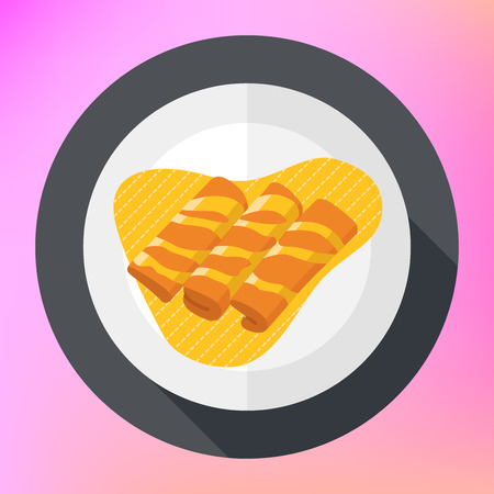 syrup: Crepes pancakes with honey syrup. Flapjack with maple syrup flat icon. pancakes flat style illustration. flat icon with long shadow.