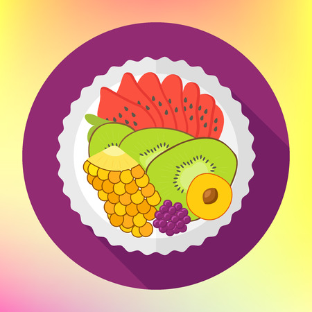 mixed fruit: Fruit salad, flat design vector with kiwi, pineapple, watermelon. Diet vector flat style concept isolated. Eating natural products, fruits. healthy fresh mixed fruit salad on white plate Illustration