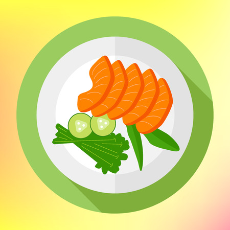 salmon fillet: Sliced salmon pieces with cucumber flat vector icon. healthy food concept flat design. Salmon steak fish fillet flat color icon