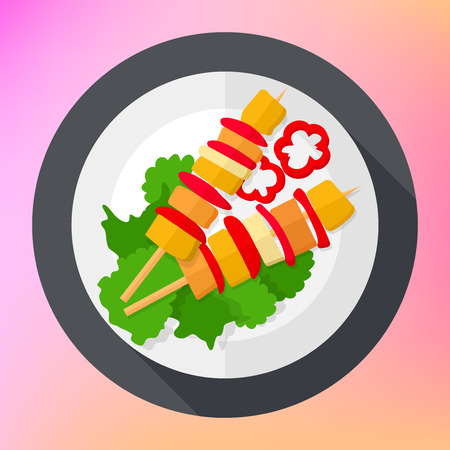 roast lamb: Shashlik kebab barbecue flat vector icon. Barbecue flat icon. Barbecue flat art. Barbecue icon flat long shadow web. Shashlik kebab meat pieces flat vector icon. Illustration