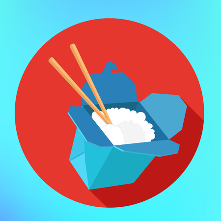 chinese take away container: Rice at box chopsticks sign. Wok rice flat icon with long shadow. flat style vector illustration. Food in box flat vector pictogram. Take away carton box for food delivery.
