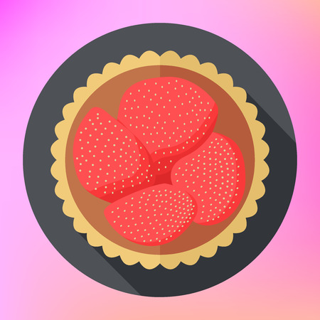gateau: Strawberry cupcake flat vector icon top view.  Strawberry cake vector flat pictogram.  Fruit cupcake vector flat food icon. Colorful dessert flat icon. Fruit cake flat illustration. Illustration