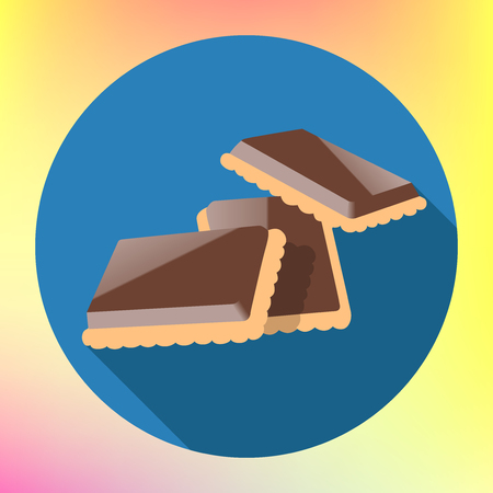 glazed: chocolate cracker cookie flat long shadow style vector icon. Cookie glazed chocolate illustration. Chocolate shortbread pictogram. Chocolate cookies sign.