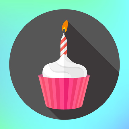 vector clipart: clipart anniversary cupcake burning candle flame flat long shadow style vector icon. Festive cupcake with candle modern flat pictogram.