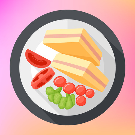 sandwitch: club sandwich with tomatoes and broccoli top view flat long shadow style vector icon. Modern flat pictogram. triangular club sandwich toast with tometoes.