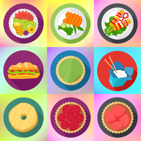 sandwitch: dessert cafe food flat long shadow style colored vector food icons collection. vector color food icons. verious  delicious dishes.