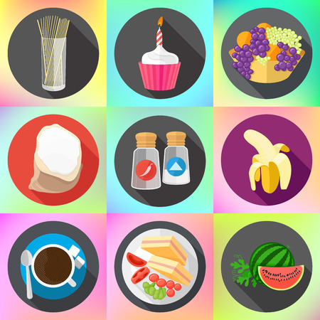coffee sack: Set of colorful cartoon restaurant food, ingredients and fruits icons. Isolated vector. Set of flat design icons for food and drink.