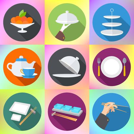 cuchara: Fije los iconos del diseño plano para el restaurante. utensilios de cocina y utensilios de cocina plana iconos fijados, utensilios de cocina y equipo de cocina. Cocinar cocina y de restaurante iconos planos del conjunto
