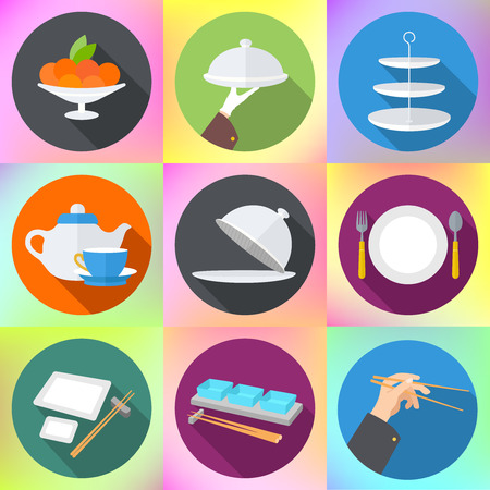 spoon: Set flat design icons for restaurant. Kitchen utensils and cookware flat icons set, cooking tools and kitchenware equipment. Cooking kitchen and restaurant flat icons set