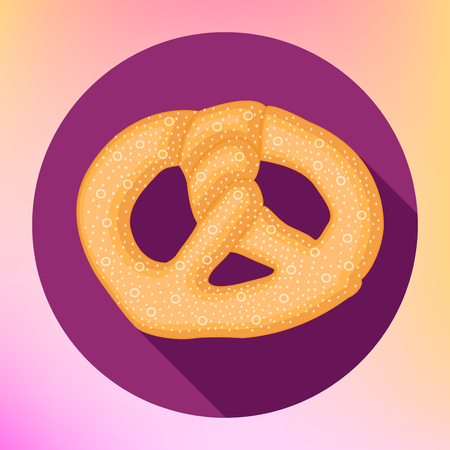 salty: Pretzel bun flat icon. Salty snack vector pictogram. Bretzel traditional bavarian homemade bread sign. Octoberfest symbol with long shadow.