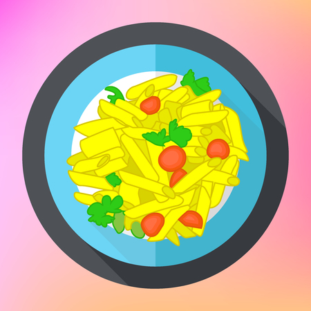 bolognese: Pasta penne flat vector icon. Traditional italian meal vector sign. Pasta flat colorful illustration.