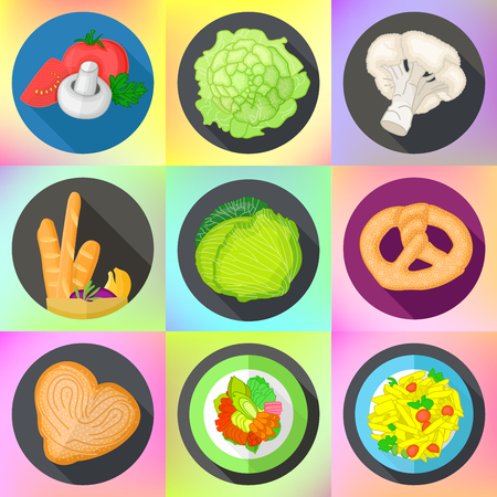 bretzel: Set of various icons with vegetables, cauliflower and cabbage, bavarian bread, meat steak, italian pasta. Vector flat style pictograms collection of food. Illustration