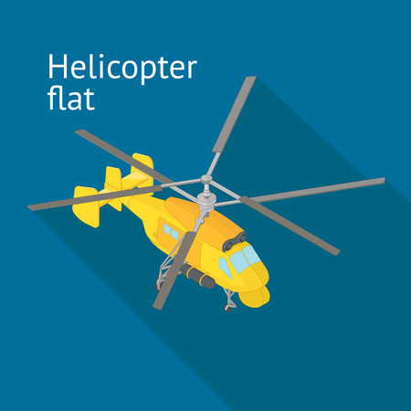 airborne vehicle: Flat isometric helicopter vector illustration. Rotorcraft transporter isometric flat vector illustration. Helicopter cargo vehicle.
